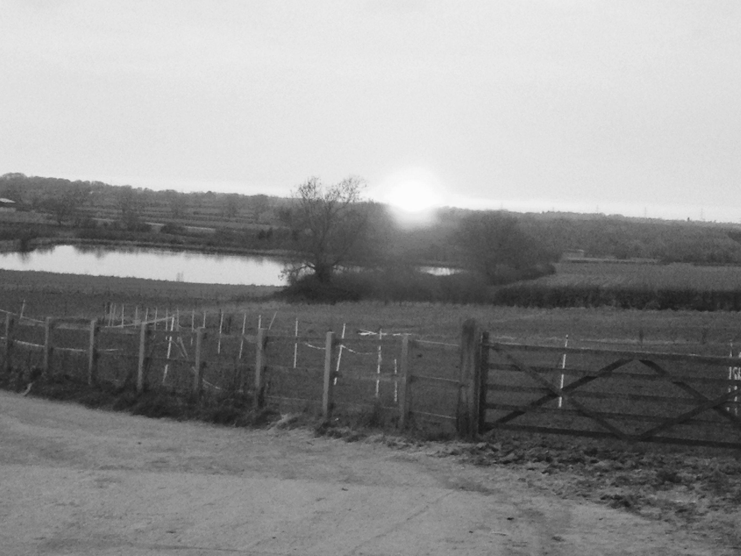 B&W Sunset over Lake